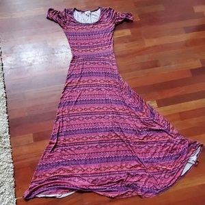 Lularoe Ana Dress XS purple pink orange pattern